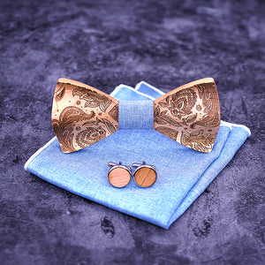 Paisley Wooden Bow Tie Set.