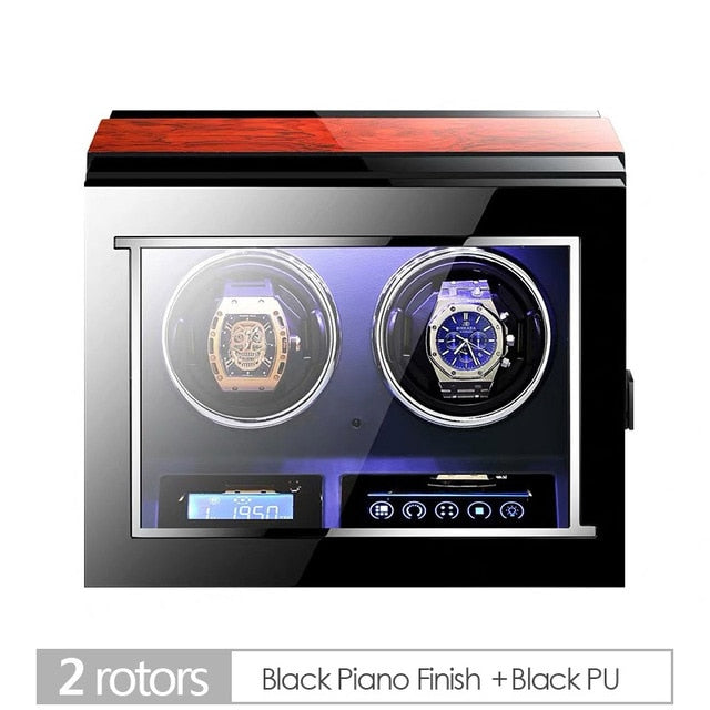 Deluxe Wooden Automatic Watch Winder (6-24 Watch Capacity, LCD Screen + Remote Control)