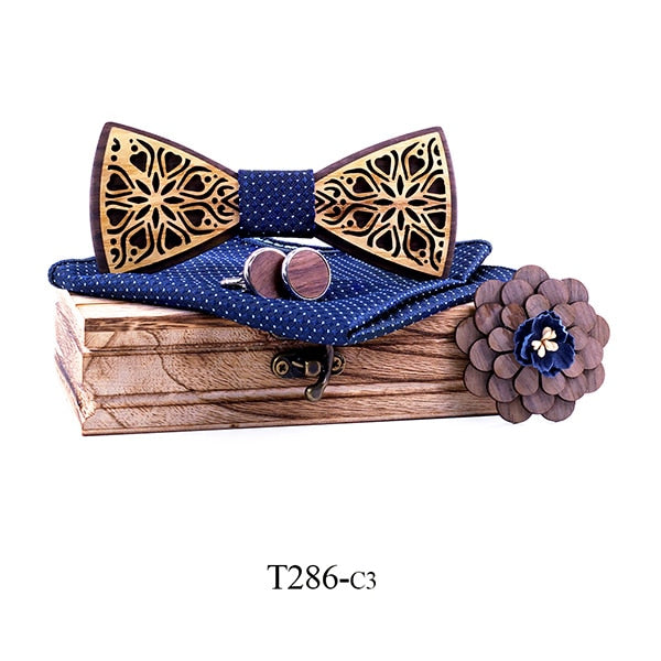 Haddon Wood Bow Tie Set