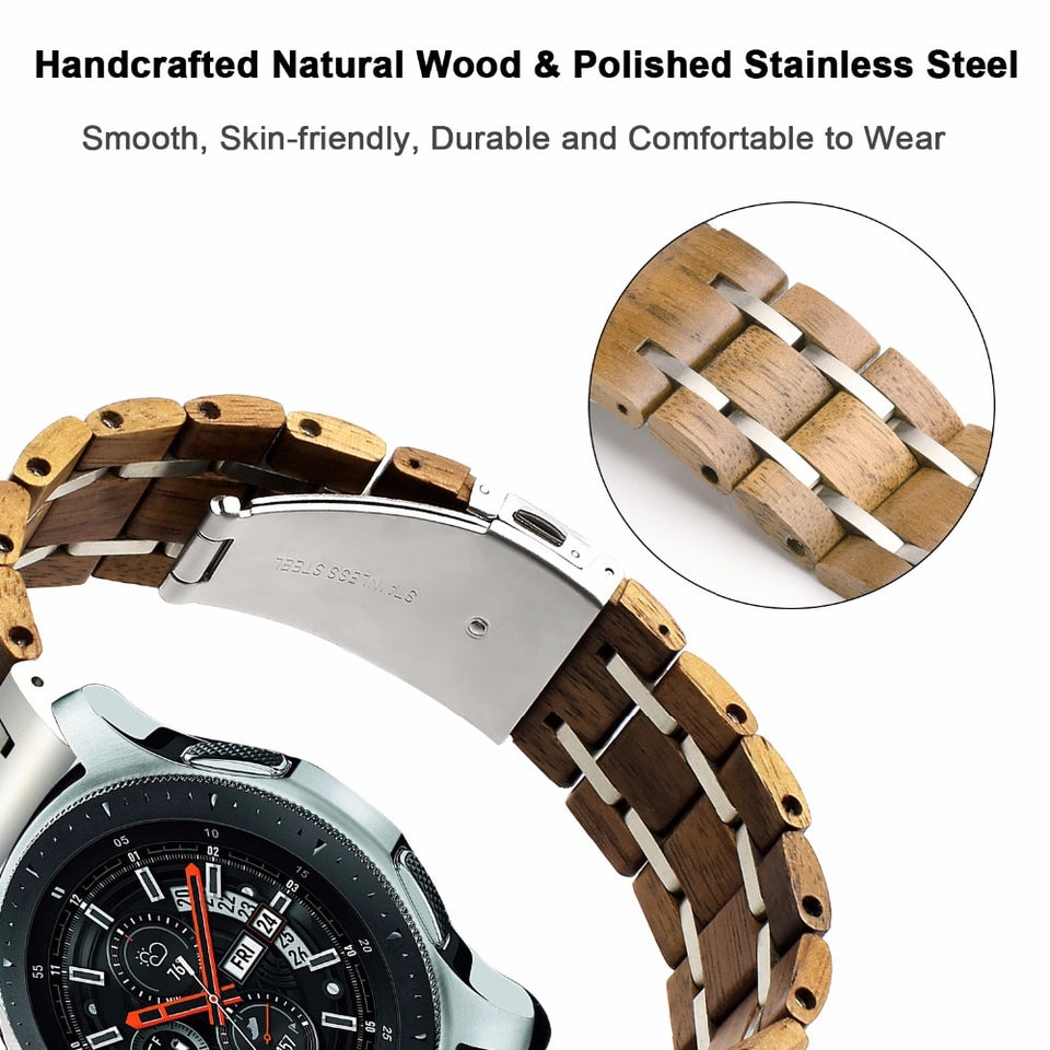 Walnut Wood & Silver Steel Samsung Galaxy Replacement Band
