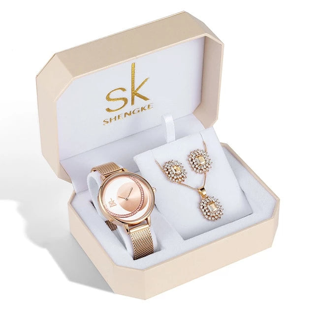 Bridgette Crystal Watch, Earring & Necklace Gift Set.
