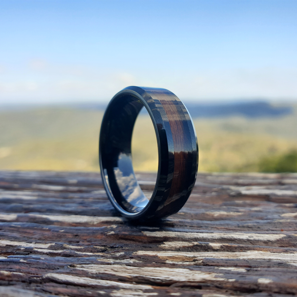 Red Wood & Black Tungsten Ring (8mm)