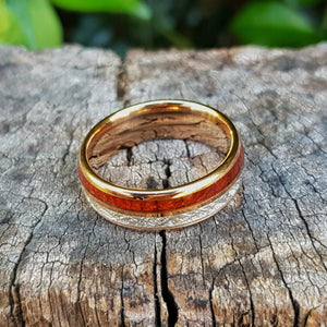 Rose Gold, Silver & Koa Wood Tungsten Ring (8mm)
