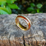 Rose Gold, Silver & Koa Wood Tungsten Ring (8mm).