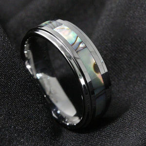 Silver Tungsten & Abalone Ring (8mm)