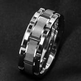 Silver Tungsten Brick Pattern Ring (8mm)