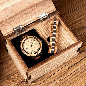 Wooden Watch & Bracelet Set