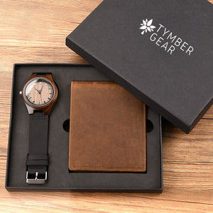 Wood Watch & Leather Bi-Fold Wallet Set