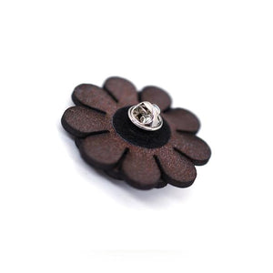 Vintage Wood & Purple Flower Lapel