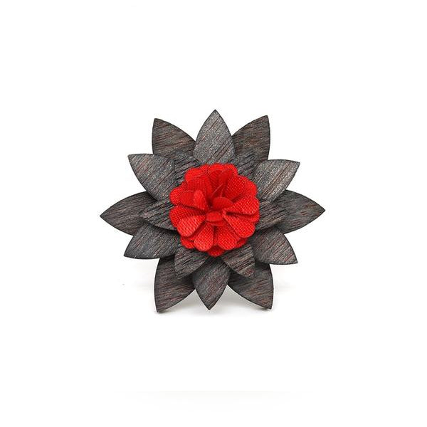 Vintage Wood & Red Flower Lapel