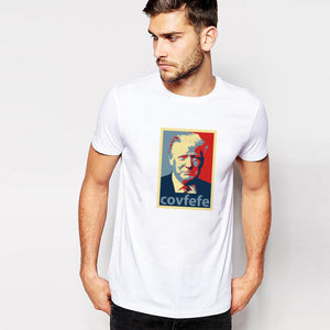 Hillbilly 2017 New Fashion Man September Hot Sale America President National Idol Trump COVFEFE Printed White Casual Top&Tees