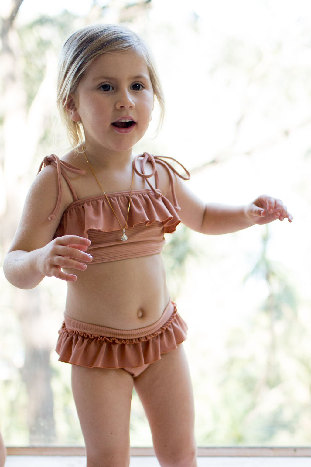 Ruffle Bikini Set - Peach Ribbed