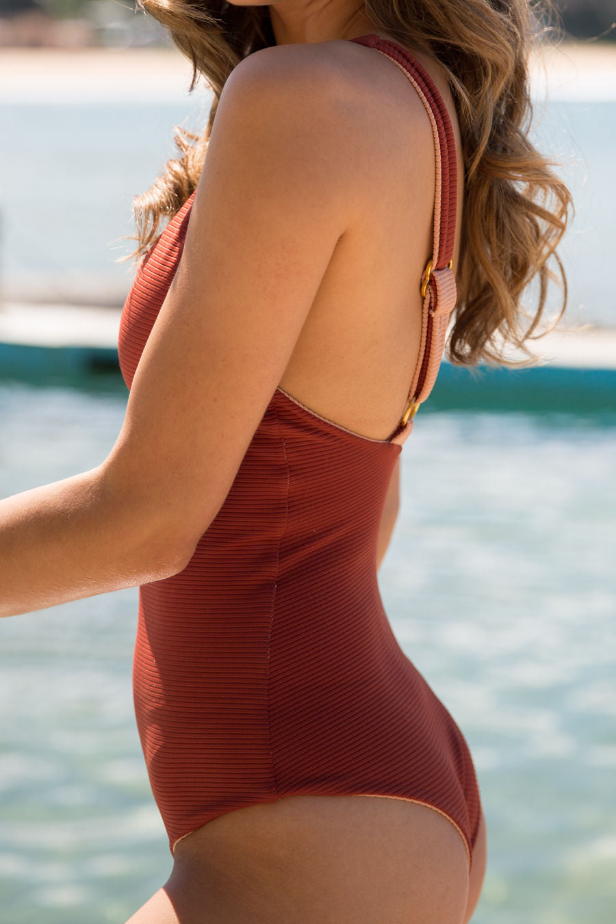 Willow One Piece - Peach Ribbed/Rust Ribbed