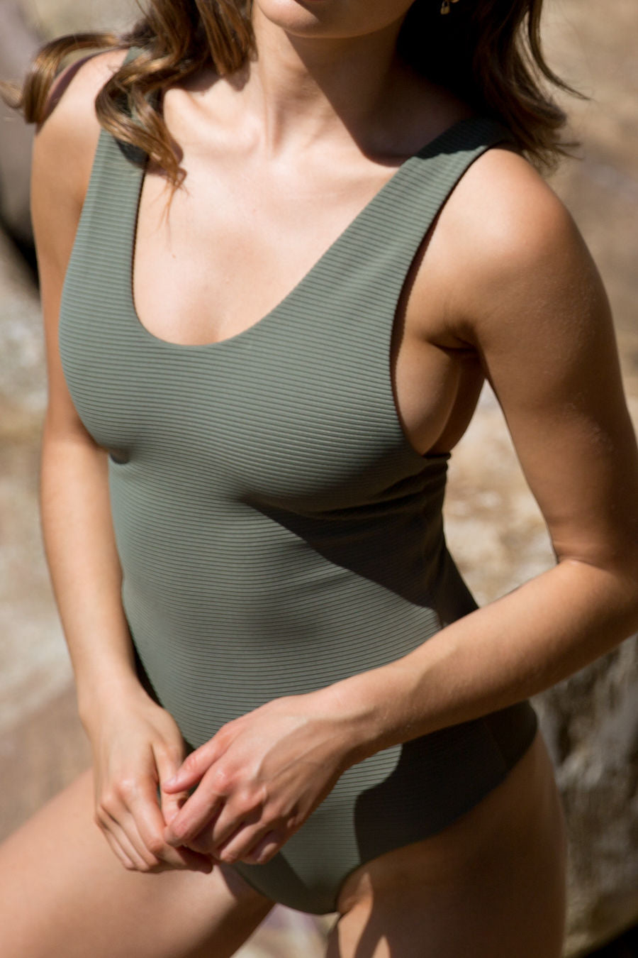 Willow One Piece - Olive Ribbed/Black Ribbed