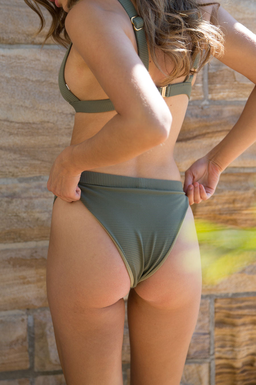 Tilly Bikini Pant - Olive Ribbed