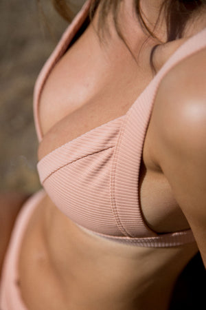 Tilly Bikini Top - Peach Ribbed