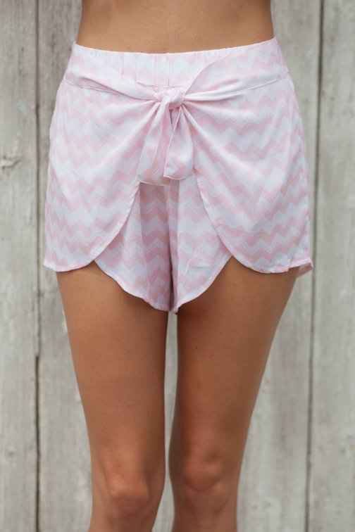 WARP SHORTS- Pink Chevron