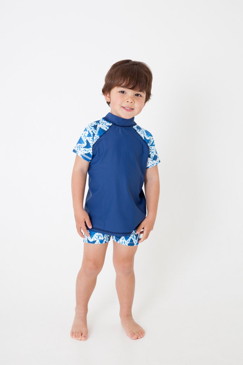 SWIM shirt - BLUE IKAT