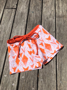 Boys Swim Short - Orange Ikat