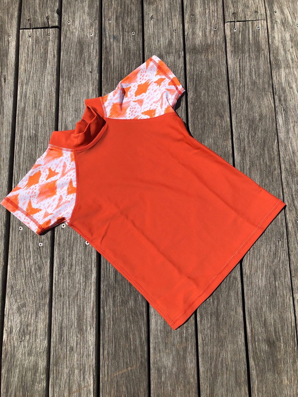 Boys Swim Shirt - Orange Ikat