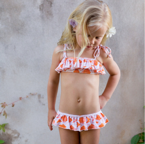 Ruffle Bikini Set - Orange Ikat