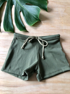 Swim Short - Olive Ribbed
