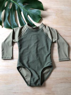 Ella Zip One Piece - Olive Ribbed