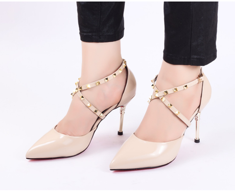 Cross Nude Pencil High Heels