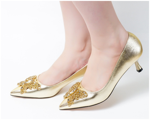 Butterfly Gold Low Heel Pumps