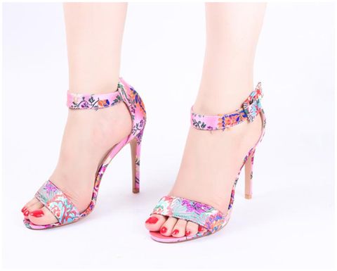 Embroidered Pink High Heel Sandals