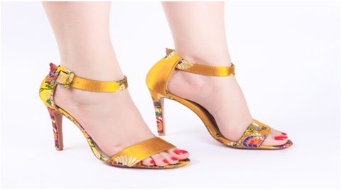 Embroidered Yellow High Heels
