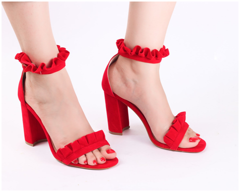 Frill Red Block Heel Sandals