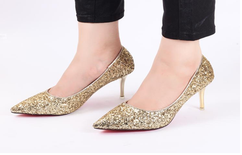 Glamour Gold High Heel Pumps