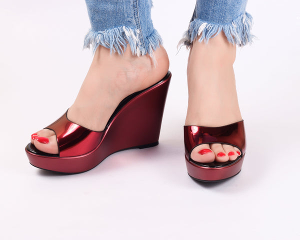 Metallica Red Wedge | Wedge Heels| High Heels | Dech Barrouci