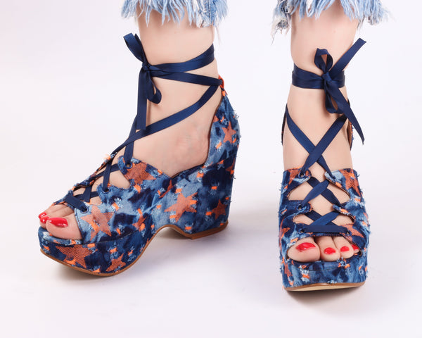 Uber Orange | Wedge Heels| Medium Heels | Dech Barrouci - DECH BARROUCI