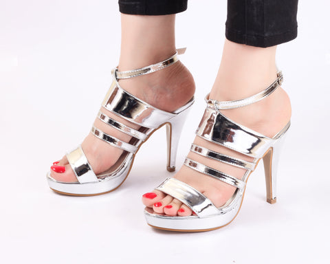Metallic Silver | Sandals | High Heels | Dech Barrouci - DECH BARROUCI