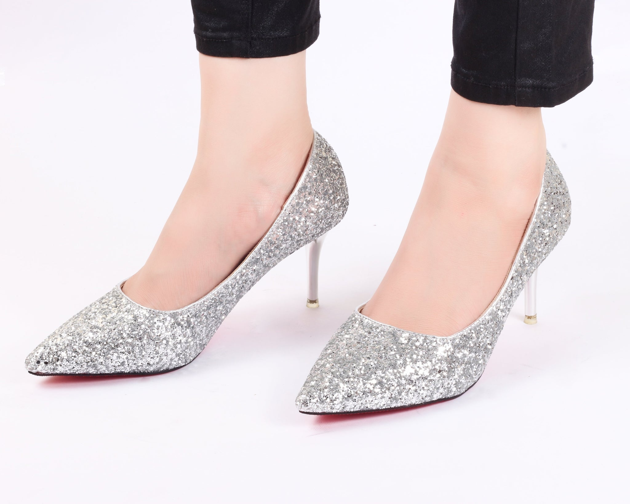 Glamour Silver | Pumps | Bellies | High Heels | Dech Barrouci - DECH BARROUCI