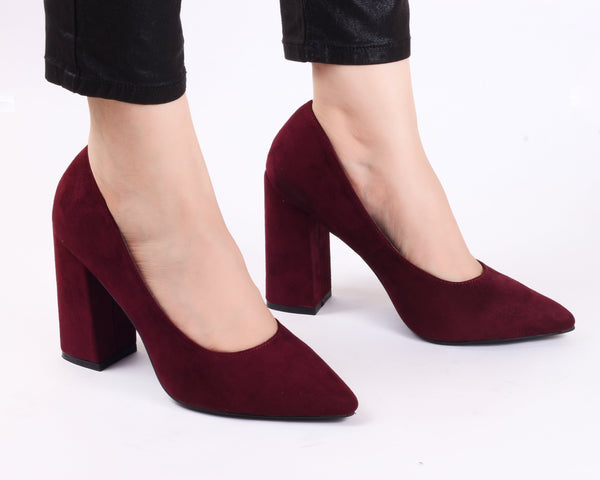 Classic Block Heel Wine | Pumps | Bellies | High Heels | Dech Barrouci