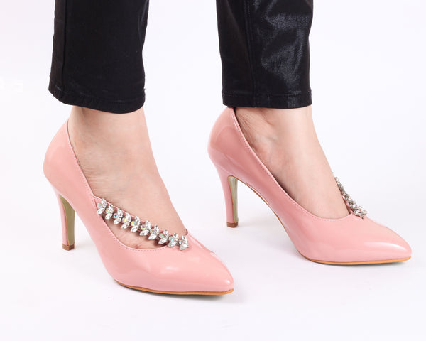 Studded Powder Pink | Pumps | Bellies | High Heels | Dech Barrouci