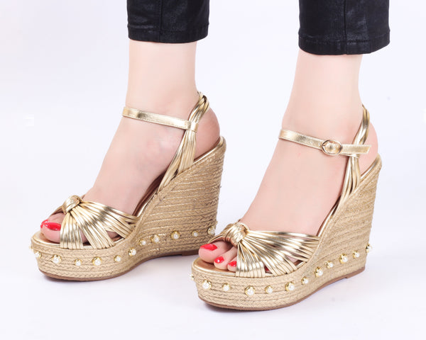 Class Gold | Wedge Heels| High Heels | Dech Barrouci - DECH BARROUCI