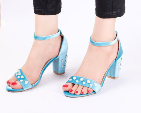 Pearl Studded Sky | Sandals | High Heels | Dech Barrouci