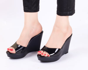Metallica Black Wedge | Wedge Heels| High Heels | Dech Barrouci