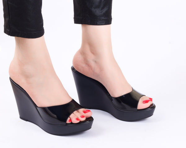 Metallica Black Wedge | Wedge Heels| High Heels | Dech Barrouci - DECH BARROUCI