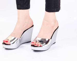 Metallica Silver Wedge | Wedge Heels| High Heels | Dech Barrouci