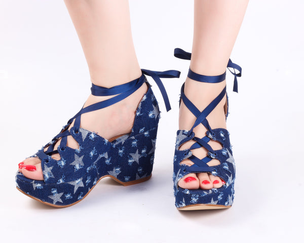 Uber Blue | Wedge Heels| Medium Heels | Dech Barrouci