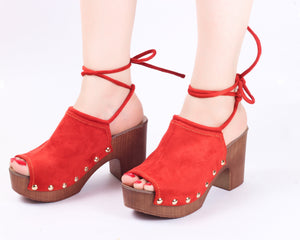 Feather Orange | Mule Heels| Medium Heels | Dech Barrouci - DECH BARROUCI