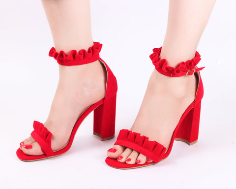 Frill Red | Sandals | High Heels | Dech Barrouci - DECH BARROUCI