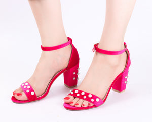 Pearl Studded Hot Pink | Sandals | High Heels | Dech Barrouci