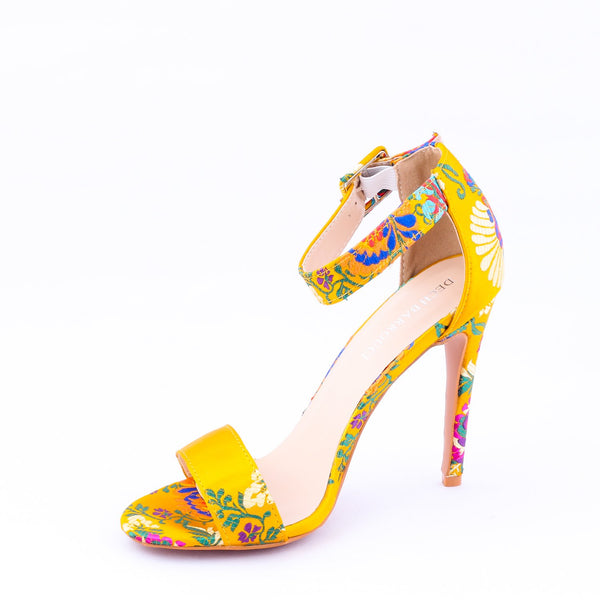 Embroidered Yellow | Sandals | High Heels | Dech Barrouci - DECH BARROUCI