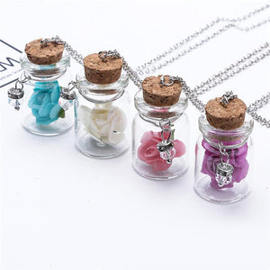 Luminous Flowers Glass Bottle Necklace
